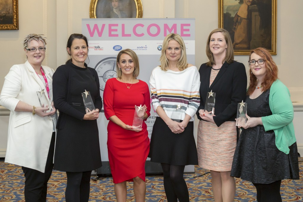 Pic shows; Caroline O'Driscoll KPMG, WMB Empowering Women Award winner 2015, Michaela Blott, Xilinx Ireland, WMB Women in Technology Award winner 2015, Marissa Carter, Cocoa Brown, WMB Entrepreneur Award winner 2015, Julie Currid, Initiafy, WMB Female Newcomer Award 2015, Niamh Townsend, Dell Ireland, WMB Businesswoman Award 2015 and Amy Smith on behalf of Mairead Healy, Future Voices Ireland, at the Women Mean Business Conference and Awards 2015 at the Shelbourne Hotel, Dublin today 5th Oct.